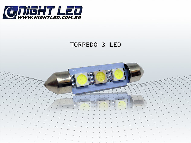 Lamapda Torpedo 3leds Smd 36mm 12v - Lampadas de Led - Night