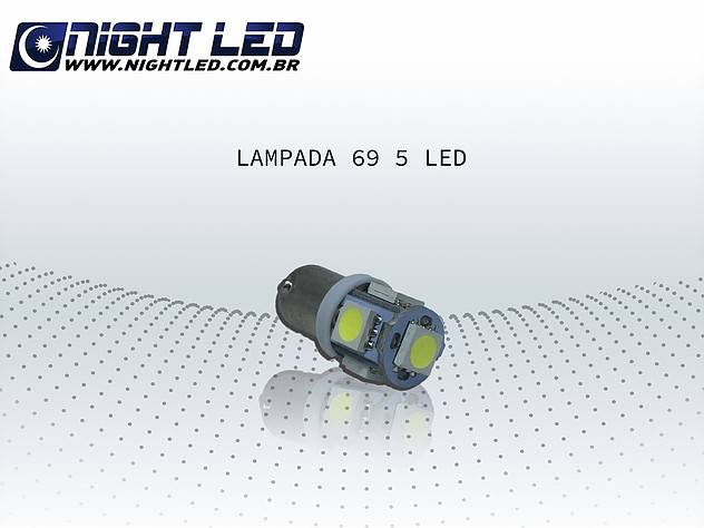 Lampada 69 5 Leds Smd Azul 12v - Lampadas de Led - Night Led
